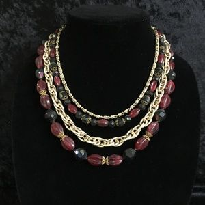 Jewelry - 60's 4 Strand Gold Chain & Beads Necklace (d011)